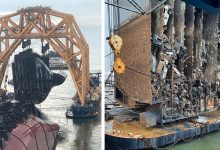 """Photo of An Overturned Cargo Ship Is """"Sliced"""" With A Very Powerful Chain. The Images Are Impressive"""
