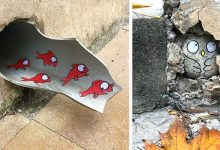 """Photo of This Lyon Artist """"Vandalizes"""" The City With Very Original Works That Interact With Urban Spaces"""