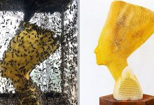 Photo of An Artist Created This Bust Of Nefertiti With 60,000 Bees. An Original Work That Makes You Think