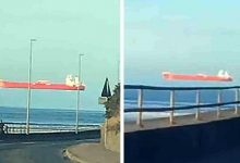 """Photo of This Ship Seems To """"Float"""" In The Sky: A Man Immortalizes The Incredible Optical Illusion"""