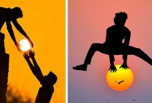 """Photo of This Artist """"Plays"""" With The Setting Sun: 13 Photos With Surreal And Romantic Charm."""